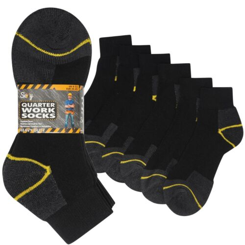 12 pairs Mens Cotton Rich Quarter Work Socks Ankle Low Cut Cushioned Foot