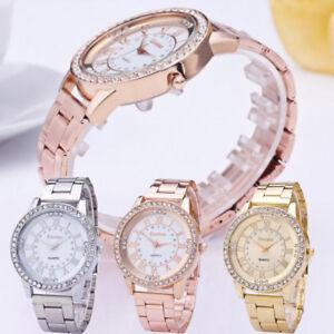 Women-039-s-Men-039-s-Watch-Crystal-Rhinestone-Stainless-Steel-Analog-Quartz-Wrist-Watch
