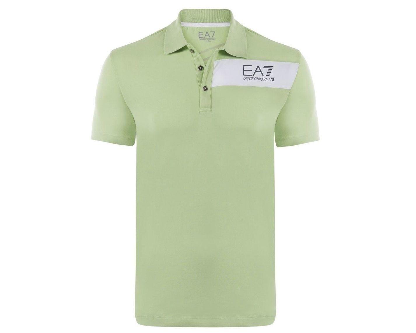 Emporio Armani EA7 Size XL Light Green Polo Shirt Train Evolution Short Sl.