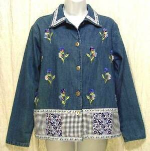 Original-Vintage-BOBBIE-BROOKS-Boho-Gingham-Floral-EMBROIDERED-Denim-Blouse-S