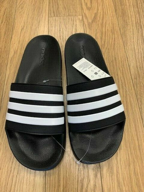 NEW-MENS ADIDAS ADILETTE CLOUDFOAM SHOWER SLIDES, BLK/WHT, 8-12, #AQ1701  $25.00