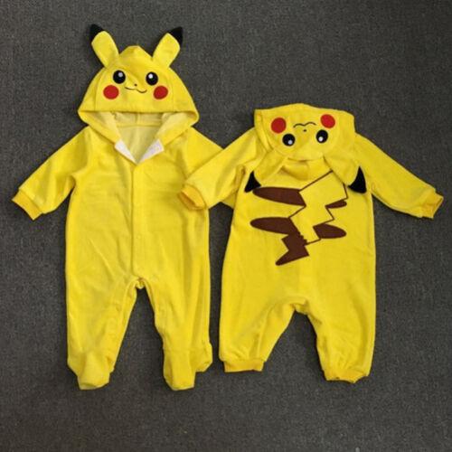 Neugeborenes Baby Kinder Jungen Pikachu Cosplay Kapuze Romper Overall Kostüm