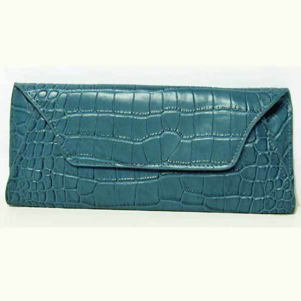 NEW EMBOSSED STEEL BLUE CROC GENUINE LEATHER CLUTCH BAG