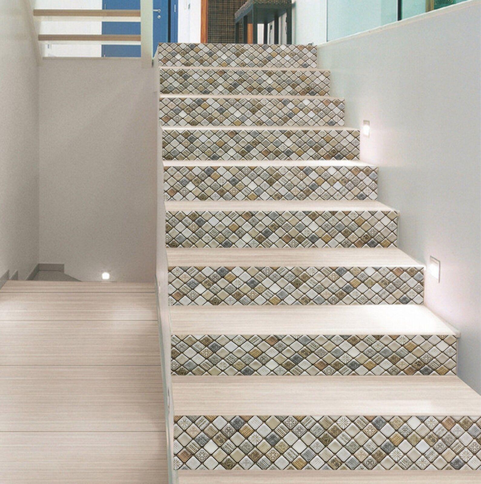 3D Diamant Holz Muster 2 Fliesen Marmor Stair Risers Vinyl Tapete Fototapete DE