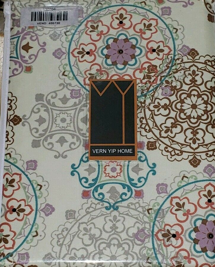 2pc Set Vern Yip Home Paisley Floral Medallion Lined Curtain Panels  50  x 96