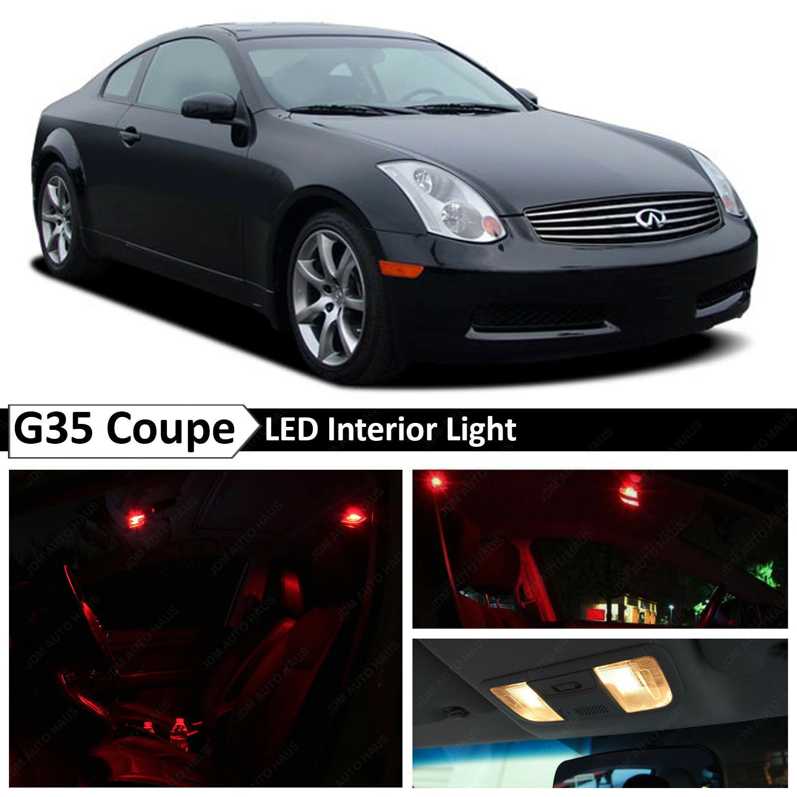 9x Red Led Lights Interior Package Fit 2003 2007 Infiniti G35 Coupe