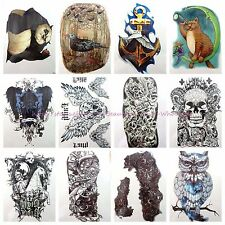 "10 sheets large 8.25"" temporary arm tattoo panda owl skull anchor Arm Chest art"