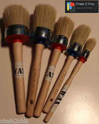#KIT5 - CHALKY PAINT WAXING pure bristle SHABBY CHIC SET OF 5 round WAX BRUSHES