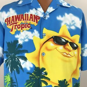 Hawaiian-Tropic-Sun-Tan-Lotion-Oil-Aloha-Shirt-Sun-Clouds-Sunglasses-Men-039-s-Large