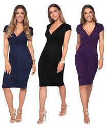 Womens Ladies V Ausschnitt Wrap Midi Kleid vorne Faltenrock Top Cap Sleeve Party