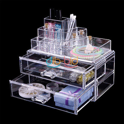 2 Drawer Clear Cosmetic Lipstick Storage Makeup Box Organizer Brush Holder OC