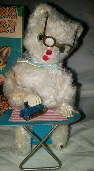 Vtg Vtg Vtg Japan Nomura Wind Up Tin Toy Mohair Ironing Cat With Box Tested Working ff1694
