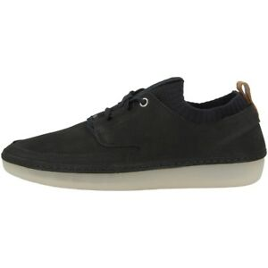 Details zu Clarks Nature IV Schuhe Damen Freizeit Leder Schnürschuh Sneaker black 26129161