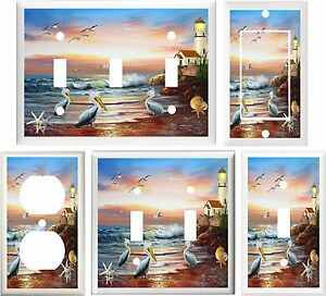 Lighthouse Nautical Beach Pelicans Amp Seagulls Light Switch