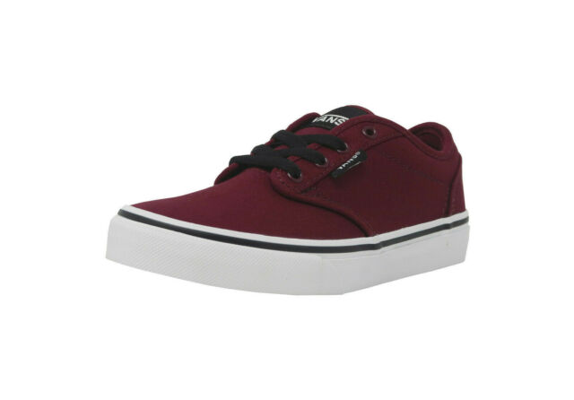 233e7d7166 VANS Atwood Canvas Burgundy Black White Skate Sneakers Kid Youth Boy Shoes