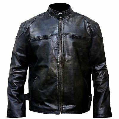 Leather Jacket for Men Waxed Distressed Sheep Skin Biker Cafe Racer XS-5XL