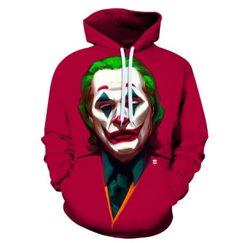 Joker Cosplay Arthur Fleck Men/'s 3d Movies Pullover Hoodie Costume Jacket Rose
