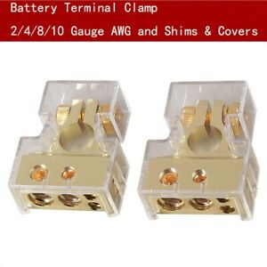 2X CAR BATTERY TERMINAL CLAMP POST 2 4 8/10 AWG GAUGE POSITIVE NEGATIVE & COVERS