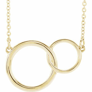 Interlocking-Circle-Necklace-Gift-Love-14k-White-Gold-Rose-Sterling-Silver