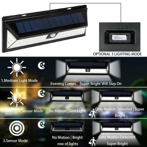Imperméable 118LED Energie Solaire Lampe Jardin Extérieur Yard PIR Capteur de Mouvement Lumière