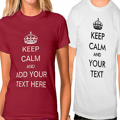 Gastfreundlich Keep Calm And Carry On Pesonalised Text Name T-shirt Mens Womens Colour Stag Hen Hochglanzpoliert