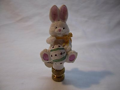 Lamp Finial Harp Topper White Easter Bunny with Egg Holiday NWT
