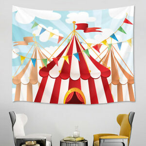 Cartoon Big Top Circus Tent Background Tapestry Wall Hanging