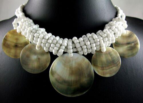 Cinq naturel nacre coquilles Pendentif Perles Collier Femmes Bijoux EA086