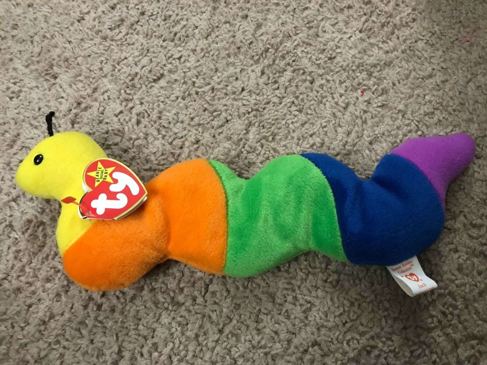 RARE   Inch the Worm Ty Beanie Baby 1995 PVC Pellets. Style New