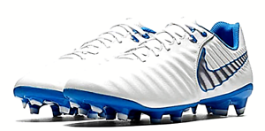 AH7242-107 Nike Tiempo Legend VII 7 Academy FG Soccer Cleats White Blue Hero