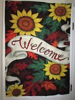 Welcome Sunflowers And Fall Leaves Large House Flag 28 X 40