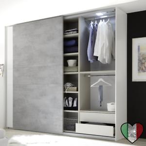 Armadio con Ante Scorrevoli - Full - Bianco Opaco/Cemento ...