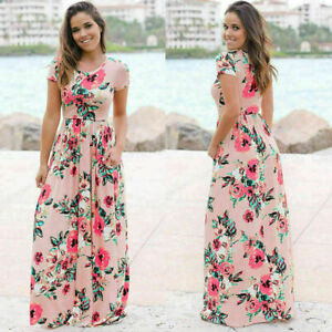 Women-039-s-Long-Maxi-Dress-Short-Sleeve-Evening-Party-Summer-Beach-Sundress