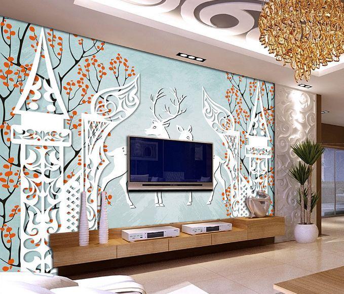 3D Jolies Cerfs 4 Photo Papier Peint en Autocollant Murale Plafond Chambre Art