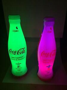 (2) Vancouver 2010 Olympics Coca-Cola Lantern Light Up Plastic Bottles RARE