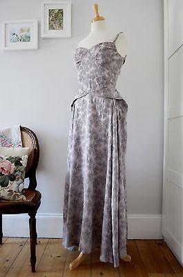 ORIGINAL 1930'S 40'S grey satin brocade evening ball gown dress wedding peplum 8