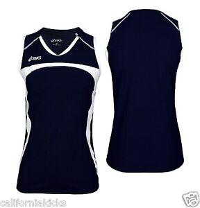 afdd6bf5a82e0 ASICS Women s Ace Sleeveless Volleyball Jersey sz L Large Navy Blue ...
