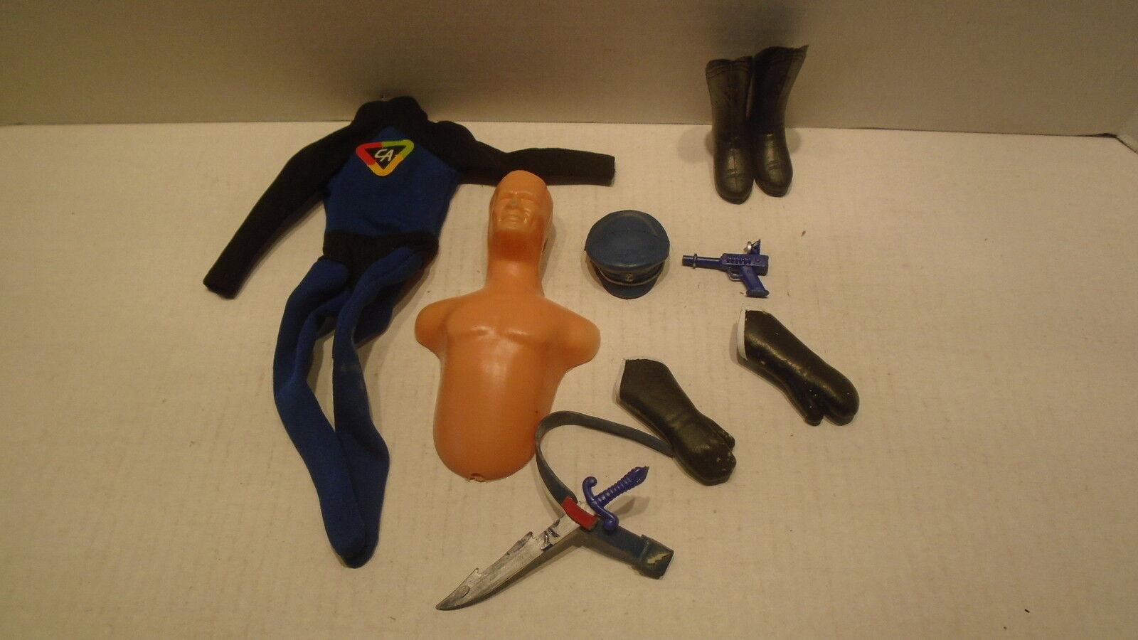 Vintage 1966 Ideal Disfraz De Capitán acción Sombrero de arranque Guantes Traje cinturón espada