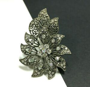 Flower Pin ON SALE Vintage Silver Tone Filigree Brooch Costume Jewelry