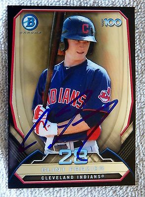 Cleveland Indians Clint Frazier Signed 2014 Bowman Top 100 In Person Auto Card