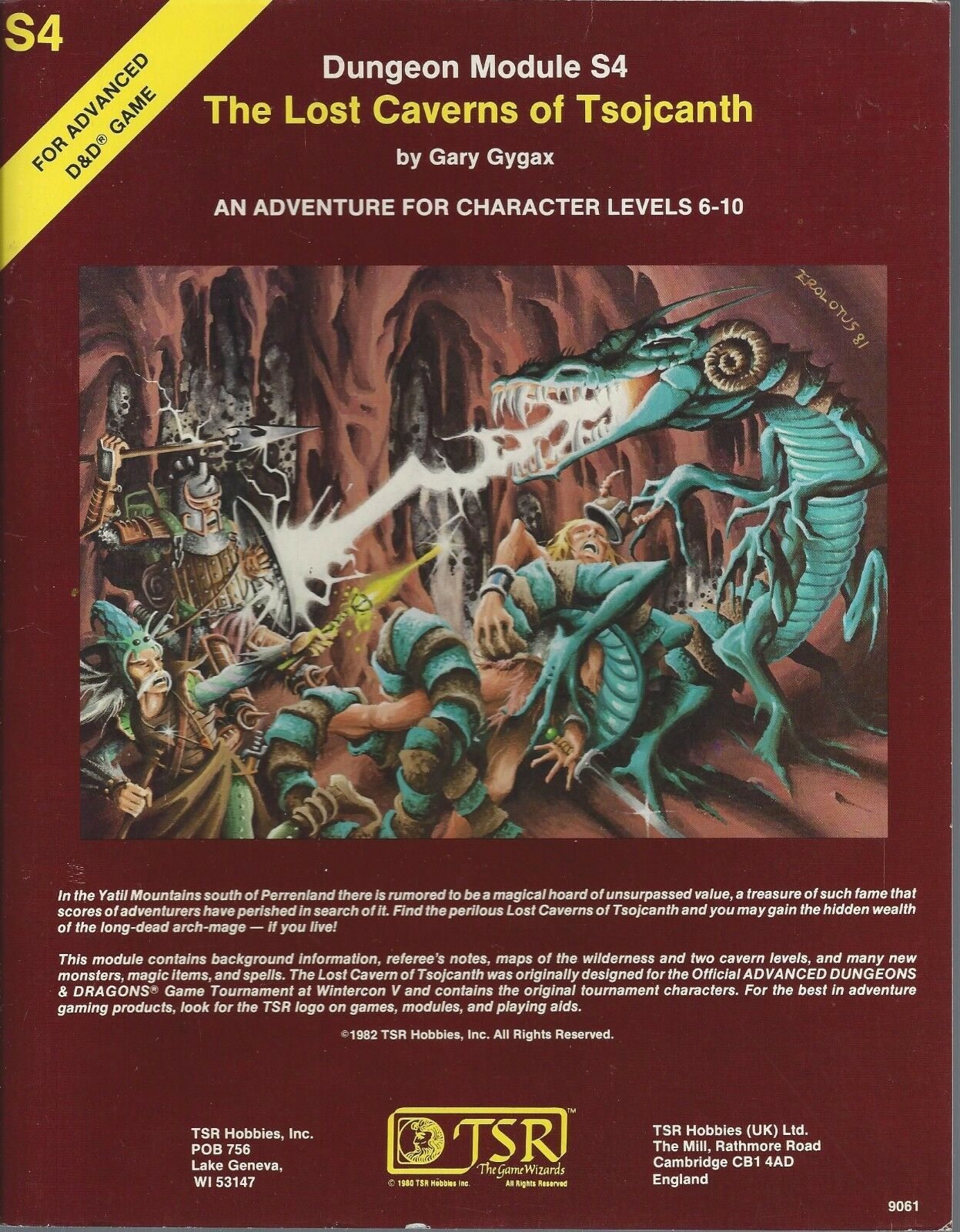 Advanced Dungeons & Dragons RPG Lost Caverns of Tsojcanth  S4  TSR 9061