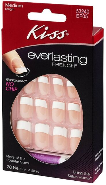 Kiss Everlasting French Artificial Nails Medium Length Ef05