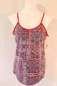 NEW-Womens-Spaghetti-Strap-Tank-Top-Medium-Red-Blue-Shirt-Cami-Summer-SOFT-NWT