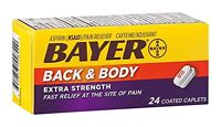 Bayer Back & Body Extra Strength 24 Coated Caplets Each