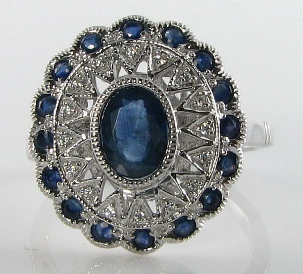 LARGE 9CT WHITE gold Sri Lankn blueE SAPPHIRE & DIAMOND RING, FREE RESIZE