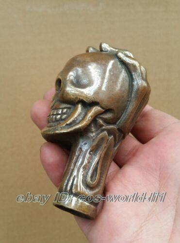 Old Bronze Hand Carved Skull antique Statue Cane Walking Stick Head