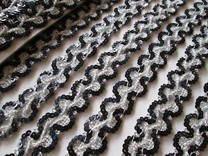 2-METER-Spitze-nichtelastisch-pailletten-BORTE-Schwarz-Silber-2-5cm-elegante