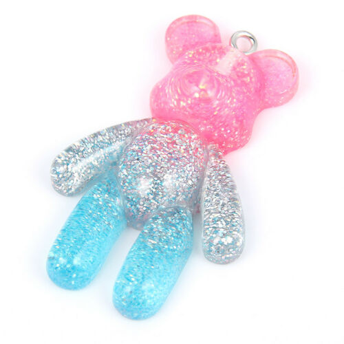 5Pc Multicolor 3D Little Bear Resin Charm Pendant DIY Ornament Making Accessory