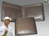 Authentic Lacoste Leather Wallet Punched Croc 6 Brown Small Billfold +cp