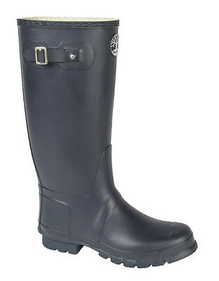 Woodland Classic Navy Wellington Boots Wide Calf Fitting Wellies Ladies & Gents